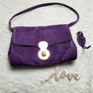 Ralph Lauren Purple Suede Ricky Shoulder Bag